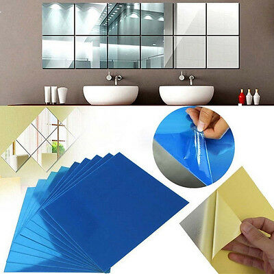 16x Mirror Tile Wall Sticker Square, What Adhesive To Use For Mirror Tiles