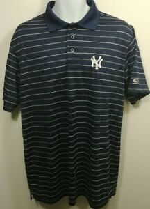 TRUE-FAN-New-York-Yankees-Mens-Striped-Polo-S-S-Shirt-Medium-NWOT-Navy-A545