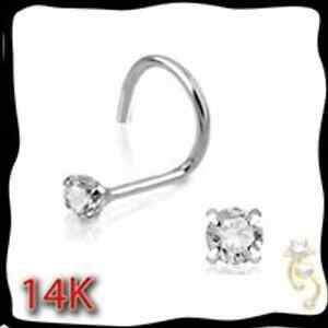 14K-White-Gold-22g-Nose-Ring-Stud-Screw-Clear-CZ-Jewelry-Sexy-1mm-1-5mm-2mm-3mm