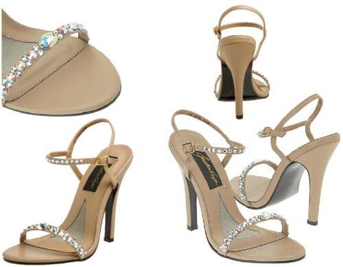 NEW Johnathan Kayne/'s Savannah Pageant Prom Taupe Sandals Swarovski AB Crystals