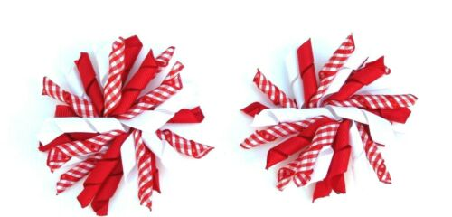Pair of Korker Gingham Hair Clip School Hair Bow Clips Sets Red /& White