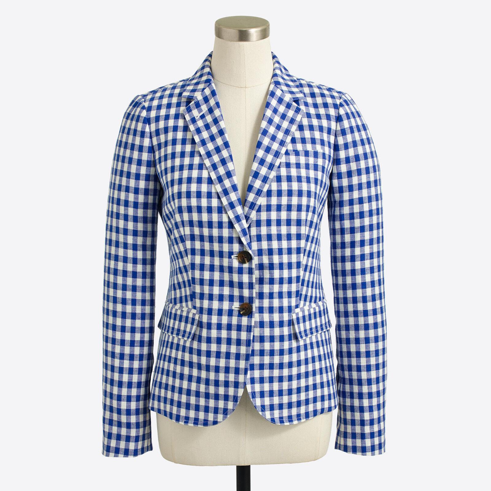 NWTJ Crew Factory Women Gingham schoolboy blazer Cobalt Ivory Gingham Sz. 4 & 6