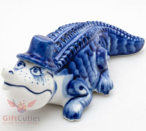 Crocodile Alligator Gzhel porcelain figurine souvenir handmade hand-painted