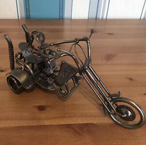 Metal-Sculpture-Trike-Lady-Easy-Rider-On-3-Wheeled-Motorbike