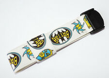 Textile strap to fit Swatch Pop watch White with Batman design 25mm #PS22