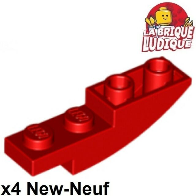 Lego 4 Red 4x1 Inverted Curved Smooth Slopes brick block NEW