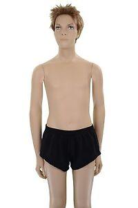 Little Athletics Gym Running Sports Boys Black Nylon Lycra Gymnastics Shorts