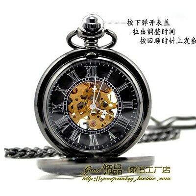 Antique Style Men Steampunk Skeleton Mechanical Quartz Pocket Watch Chain Gift