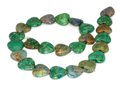18MM CHRYSOCOLLA GEMSTONE GREEN BLUE LOVE HEART 18MM LOOSE BEADS 7.5/""