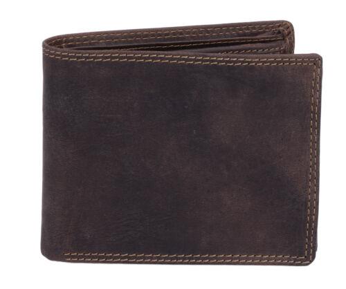 Portemonnaie Querfor braun Scheintasche LEAS MCL Riegel Geldbörse in Echt-Leder
