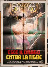 ESCE IL DRAGO ENTRA LA TIGRE manifesto 2F originale 1976 Kung Fu