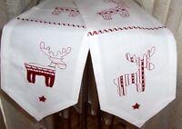 Tischläufer / Tischband Reindeer In Leinenoptik Rot/weiß Bestickt