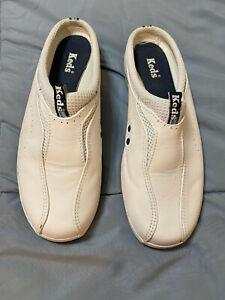 Keds White Leather Slip On Slides Mules