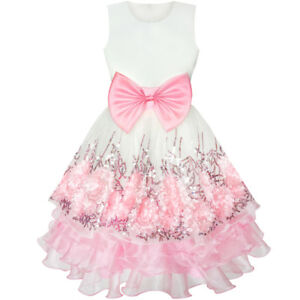 Flower-Girls-Dress-Pink-Sequin-Dimensional-Flowers-Bow-Tie-Pageant-Size-7-14