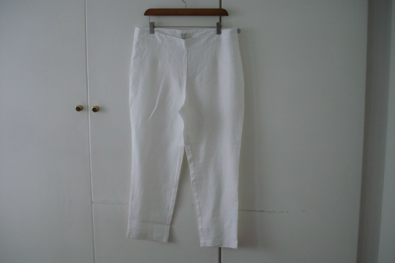 EAST CAPRI  Hose TROUSERS  3 QUARTER LENGTH 100% LINEN CREAM Weiß UK Größe 14