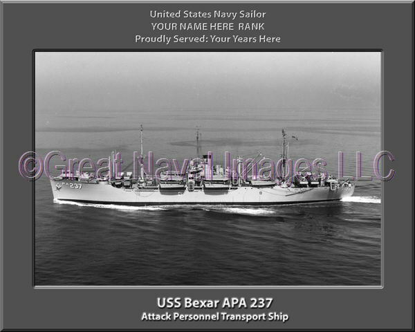 USS Bexar APA 237 Personalized Canvas Ship Photo Print Navy Veteran Gift