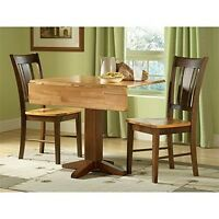 Set Of 3 Pcs-36in Square Dual Drop Leaf Table With 2 San Remo Chairs