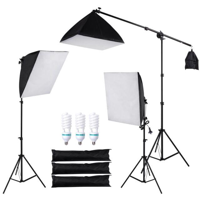 Photography Studio Continuous Lighting Softbox Boom Arm Light Backdrop Stand Kit