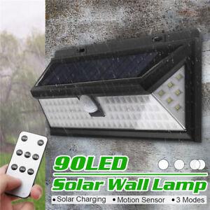 Solar-Powered-Motion-DEL-Mur-Capteur-Securite-Jardin-Lumiere-Lampe-d-039-Exterieur-120-DEL