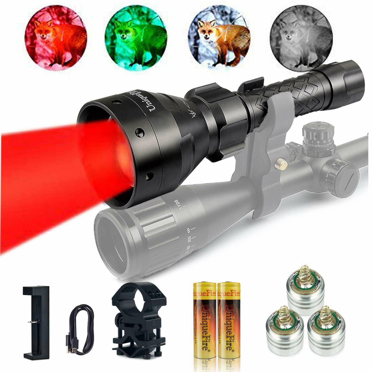 UniqueFire 1405 T67  Red Light LED 18650 Flashlight Zoom Torch+Charger+Mount+Pill  first time reply