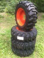 4 10-16.5 Galaxy Skid Steer Tires & Wheels/rims For Bobcat -10 Ply-10x16.5