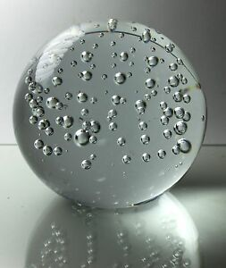 crystal clear round glass ball paperweight with bubbles 2 inch in