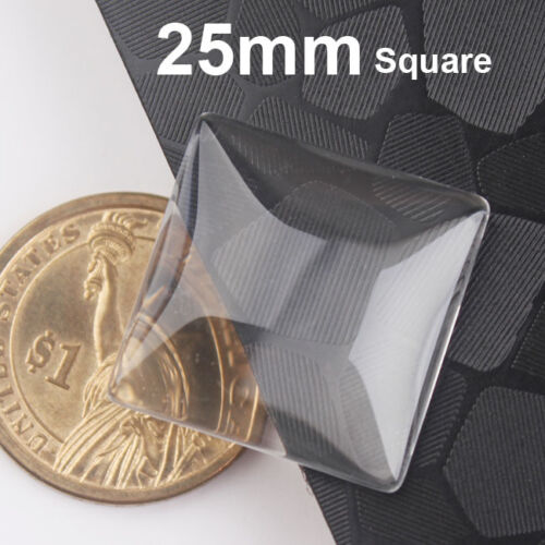 50pcs 25mm 1 inch top quality square flat back clear crystal glass cabochons