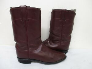 JUSTIN Burgundy Leather Roper Cowboy Boots Size 4 B Style L3068 USA