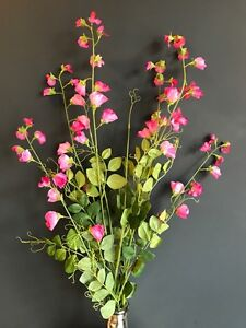 2 tall pink artificial sweet pea branches faux silk flowers image is loading 2 tall pink artificial sweet pea branches faux mightylinksfo