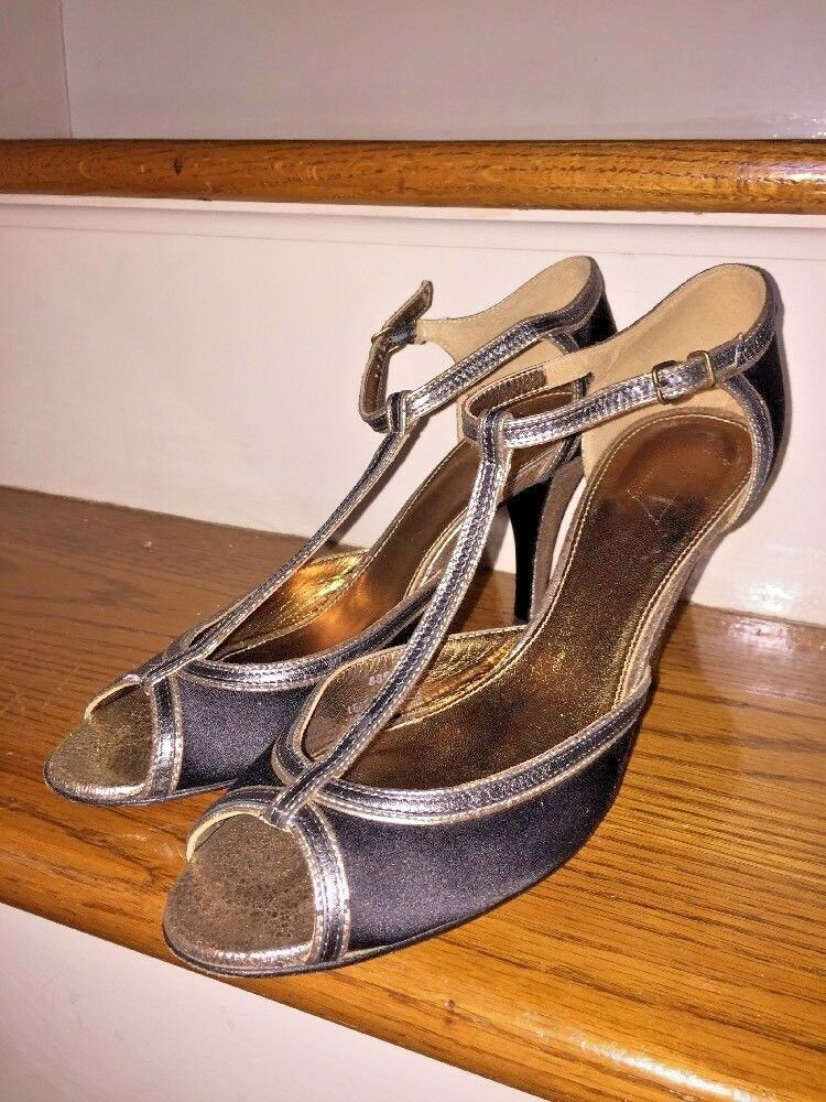 J CREW GENUINE LEATHER Satin High Heels gold Slingbacks PUMPS WOMENS SHOES Sz 9