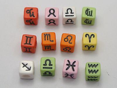 250 Assorted Color 12 Horoscopes Acrylic Cube Pony Beads 7X7mm