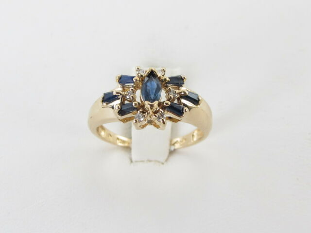 14K YELLOW GOLD DIAMOND AND SAPPHIRE RING  SIZE 6 1/2