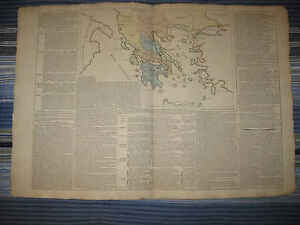 ... -ANTIQUE-1803-ANCIENT-GREECE-GREEK-HISTORY-HANDCOLORED-MAP-FINE-NR
