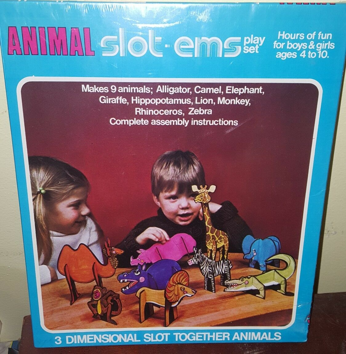 Nuovo NOS VINTAGE Animal Slot-Ems 1975 Slot together animals