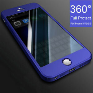 360-Full-Cover-Case-9H-Tempered-Glass-For-iPhone-SE-5-5S-6-7-8-X-XR-XS-Max