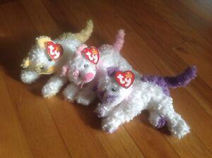 Set of 3 Ty Beanie Baby Cats - Pinkerton, Violetta & Saffron