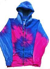 size XXLARGE ZIP UP BLUE & PINK SWIRL TIE DYE HOODIE sweatshirt tye dyed hippie
