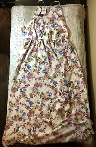 NEW-WITH-TAGS-Soprano-Women-039-s-Floral-Summer-Dress-Lace-Open-Back-Size-Large