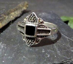 925-Silber-Ring-Markasit-Schwarz-Jugendstil-Art-Deco-Vintage-Hirschkopf-Punze