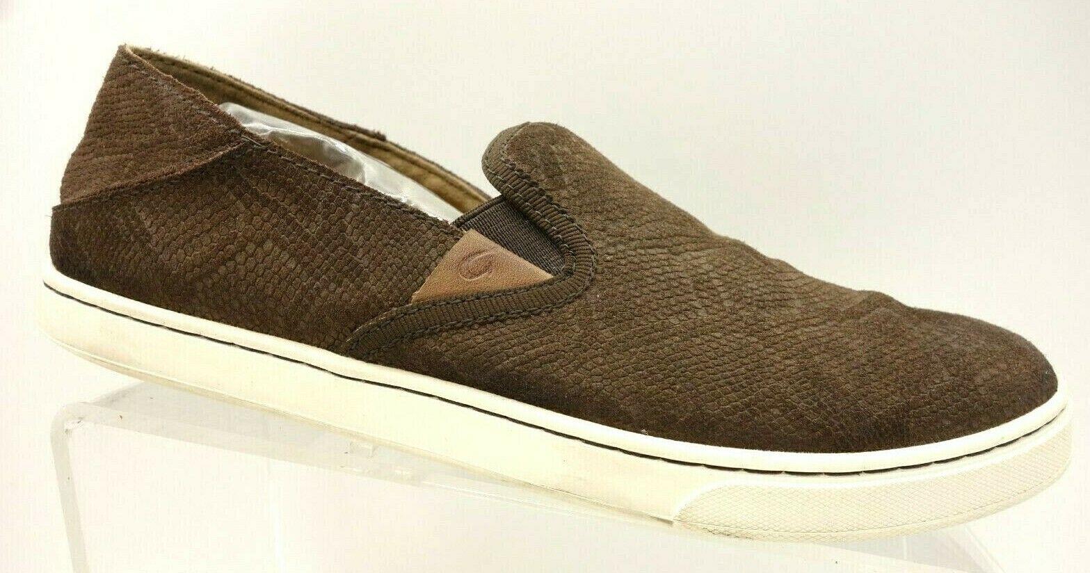 Olukai Brown Snakeskin Print Leather Casual Slip On Sneakers shoes Women's 9