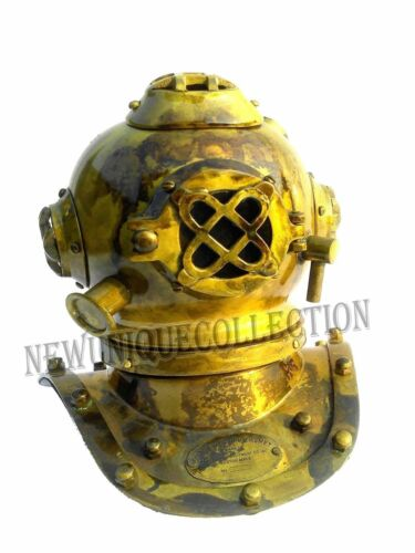 VINTAGE Nautical Brass Antique Mini Diving Diver Helmet Steel Brass U.S Navy