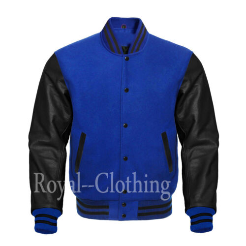 sleeves jacket blue royal Varsity wool Letterman leather black Genuine 0f8qRTwqx