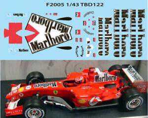 1/43 Ferrari F1 F2005 2005 Michael Schumacher Sponsor Decals Tb Decal Tbd122 Dissipation Rapide De La Chaleur
