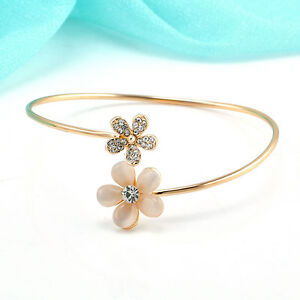 1pc Women Flower Crystal Gold Plated Cuff Bracelet Bangle Charm Jewelry Gift