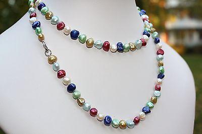 BR24-90cm Echt Süßwasser Zucht Perle Schmuck Perlenkette Halskette Kette Collier