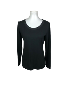 Ann-Taylor-Womens-Size-M-Black-Long-Sleeve-Top-Satin-Scoop-Neck-Knit-Soft-Basic