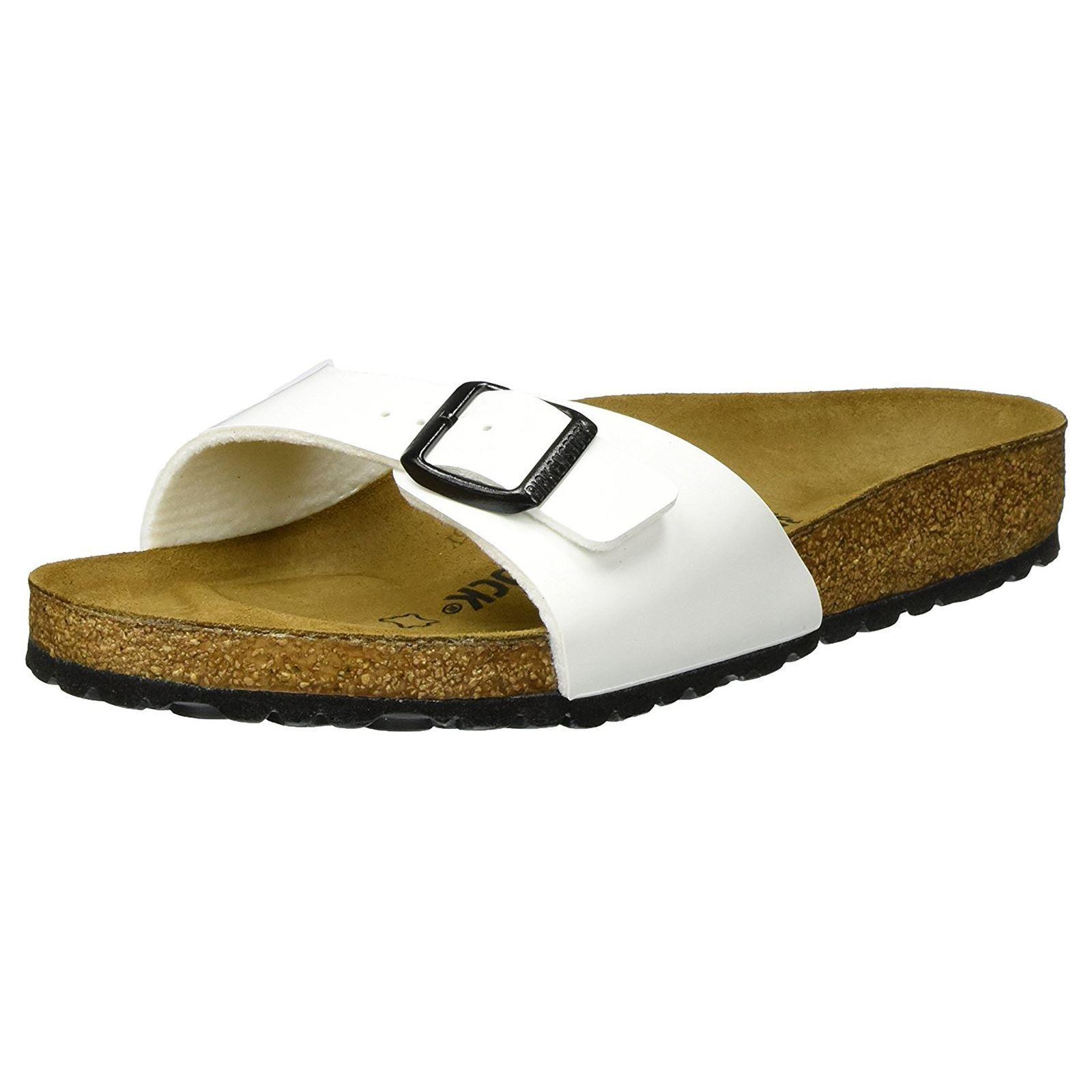 Último gran descuento Birkenstock Madrid White Womens Birko-Flor Slip-on Casual Summer Slide Sandals