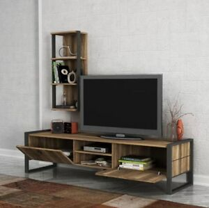 Details About Tv Stand Rustic Wood Furniture Media Storage Cabinet Vintage Style