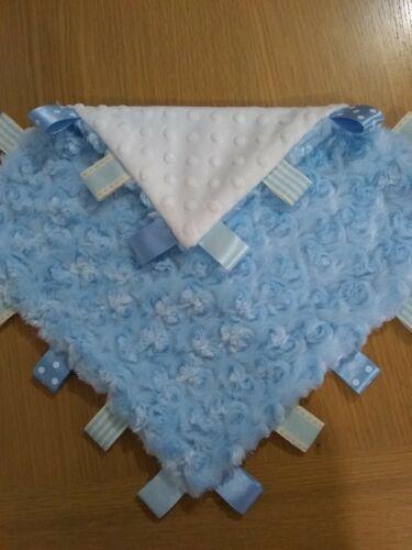Baby blue Rosebud Minky Taggy  30cm
