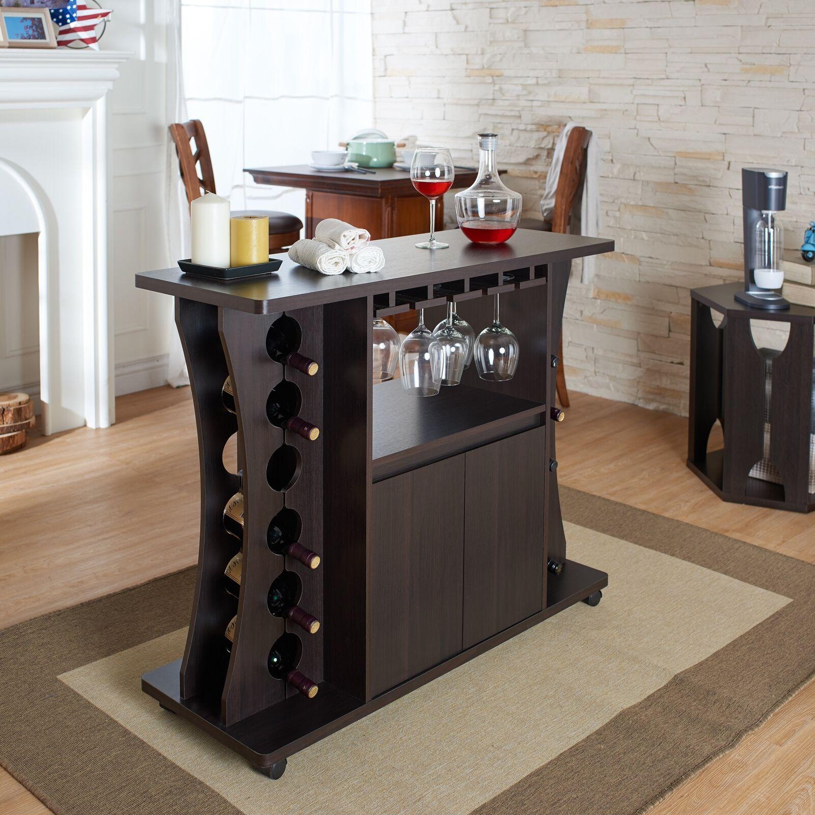 Casier à vin Buffet Table Combo Avec Cabinet & verres Slots 12-porte bouteille roues